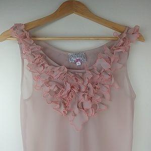 Anthro: Baraschi, sheer blush sleeveles blouse top